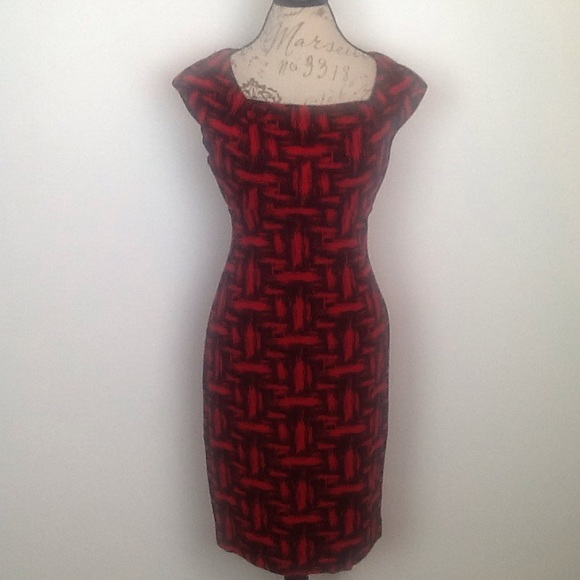 Calvin Klein Dresses & Skirts - Calvin Klein red/black form fitting dress in 6